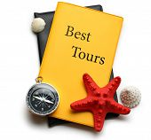 Compass, Seastar And Seashells On Best Tours Brochure