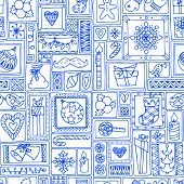 Blue seamless Christmas and New Year pattern