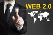 Businessman Pushing Button Web Internet