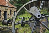 Big iron wheel in the wood in England