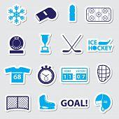 Ice Hockey Sport Blue Stickers Set Eps10