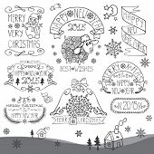 Vintage New Year,Christmas Calligraphic badges set.Outline