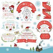 Vintage New Year,Christmas Calligraphic badges decor set.eps