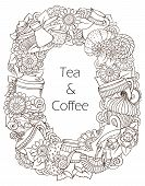 Coffee and Tea Sketch Doodles Pattern.