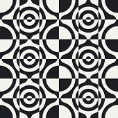 Abstract Circle and Square Pattern. Vector Seamless Background in Black and White.