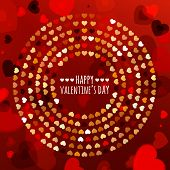 Round Frame From Abstract Glowing Hearts. Vector Holiday Background. Valentines, Wedding Greeting Ca