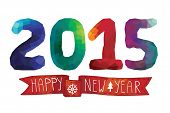 New year card,background.Polygons 2015 with ribbon
