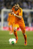 BARCELONA - JAN, 21: Karim Benzema of Real Madrid during the Spanish Kings Cup match between Espanyol and Real Madrid at the Estadi Cornella on January 21, 2014 in Barcelona, Spain