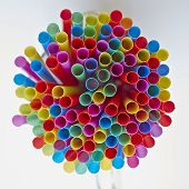 colorful drinking straws, strong bokeh