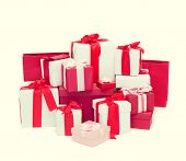 holidays, winter, birthday and celebration concept - christmas presents