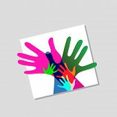 children and adults hands together, no transparencies