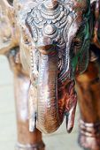 Copper Figurine With Green Spots Indian Elephant With Tusks