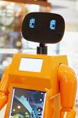 Perm, Russia - Apr 25, 2014: Promo Robot In Shopping Center Colosseum. Perm Students Created An Andr