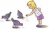 Girl Feeding Pigeons