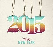 Happy New Year 2015 Hang Tag Vintage Card