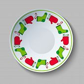 Ceramic Plate With Christmas Stocking Ornament