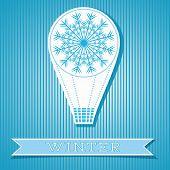 Card Design With Hot Air Balloon Winter Concept
