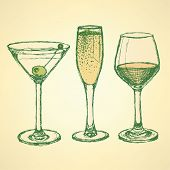 Sketch Martini, Champagne And Wine Glass