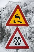 Dangerous And Icy Road With Sleet Covered Trees