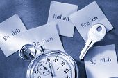 Cards With Different Languages, Stopwatch And Key
