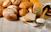 Fresh Healthy Natural Bread On A Wooden Background