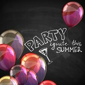 ignite this summer party. holiday illustration with flying multicolored balloons and blackboard text