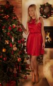 Young Woman In Red In Christmas Interior