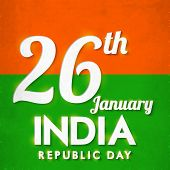 Poster or banner design with text 26th January, Indian Republic Day on saffron and green background.