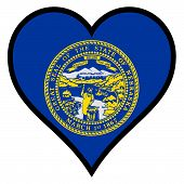 image of nebraska  - Nebraska state flag within a heart all over a white background - JPG