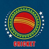 Badge design with red cricket ball and stars on grungy blue background.