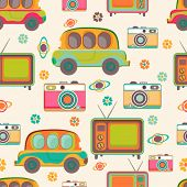 picture of transistor  - Seamless pattern of retro multicolor cars - JPG