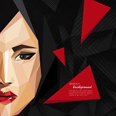 illustration with an asian woman face in low-polygonal style. modern poster with fashion, beauty or