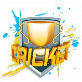 Winning golden trophy for cricket with 3D shiny Cricket text on color splash background.