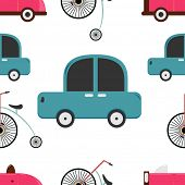 Seamless pattern of retro car and penny farthing.