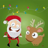 funny santa claus and reindeer