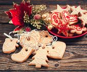 Christmas Cookies Handmade Lies On Wooden Background.