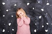 picture of little girls photo-models  - Little girl on a background of hearts around it - JPG