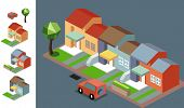 Night Neighbourhood isometric vector illustration