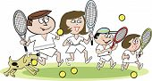 Family tennis cartoon