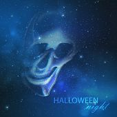 picture of starry night  - spooky vector illustration with an evil ghost skull on the night starry sky background - JPG