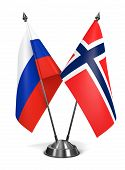 Russia and Norway  - Miniature Flags