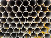 Rows Of Steel Pipes Close Up