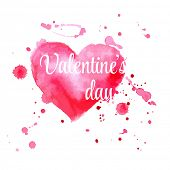 Vector watercolor Valentine's day greeting card illustration with hearts