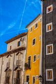 Old Color Houses Facades In Cuenca, Central Spain