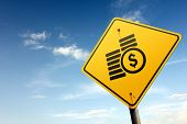 Cash Ahead. Yellow Traffic Sign.