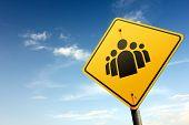 Leadership Zone Ahead. Yellow Traffic Sign.