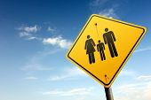 Family Zone Ahead. Yellow Traffic Sign.