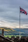 Union Jack Flying Over Stirling Landscape
