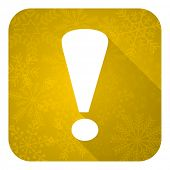 exclamation sign flat icon, gold christmas button, warning sign