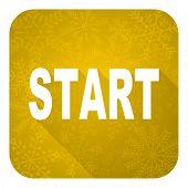 start flat icon, gold christmas button